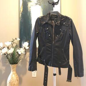 daytrip Embellished Stud Faux Leather Jacket